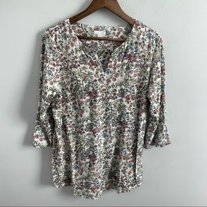 J. Jill | Floral Tunic V-Neck Blouse Top Flowers M